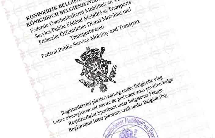 registratiebrief; vlaggenbrief ; immatriculatieplaat